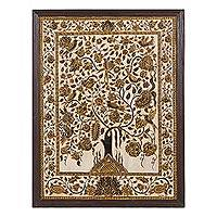 Marble wall art, 'Abode of Birds III' - Hand-Painted Gold-Tone Tree of Life Wall Art from India