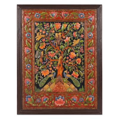 Marble wall art, 'The Tree of Life V' - Hand-Painted Colorful Tree of Life Wall Hanging from India