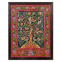 Marble wall art, 'The Tree of Life IV' - Floral Tree of Life Marble Wall Art from India