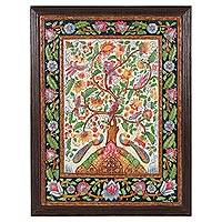 Marble wall art, 'The Tree of Life III' - Hand-Painted Tree-Themed Marble Wall Art from India