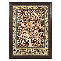 Marble wall art, 'Abode of Birds I' - Bird-Themed Marble Wall Art in Brown from India