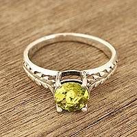 Peridot solitaire ring, 'Sparkling Crown' - Faceted Peridot Solitaire Ring from India