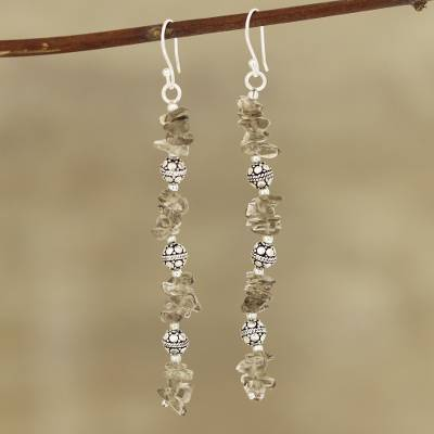 Smoky quartz beaded dangle earrings, 'Gemstone Mist' - Smoky Quartz Beaded Dangle Earrings Crafted in India