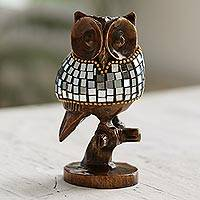 Glass and wood sculpture, 'Glimmering Owl' (4 inch) - Wood and Glass Owl Sculpture from India (4 Inch)