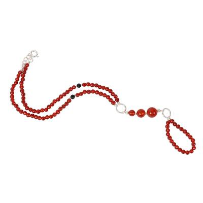 Onyx beaded harem anklet, 'Exotic Style in Red-Orange' - Red-Orange Onyx Beaded Harem Anklet from India