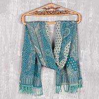Jamawar wool shawl, 'Turquoise Paisleys' - Paisley Motif Jamawar Wool Shawl in Turquoise from India