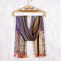 Wool shawl, 'Colorful Floral' - Colorful Floral Wool Shawl from India