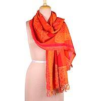 Jamawar wool scarf, 'Fiery Paisleys' - Red and Orange Paisley Motif Jamawar Wool Scarf from India