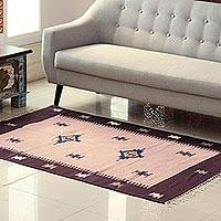 Wool area rug, 'Abstract Stars' (4x6) - Petal Pink and Mahogany Wool Area Rug from India (4x6)