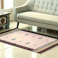 Wool area rug, 'Starry Essence' (4x5.5) - Petal Pink Geometric Wool Area Rugs from India (4x5.5)