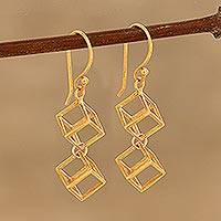 Gold plated sterling silver dangle earrings, 'Gold Cubism' - Gold Plated Sterling Silver Cube Dangle Earrings from India