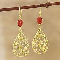 Gold plated onyx dangle earrings, 'Gorgeous Drops' - Gold Plated Red-Orange Onyx Dangle Earrings from India