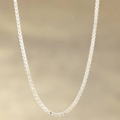 Sterling silver chain necklace, 'Charming Classic' - Sterling Silver Box Chain Necklace from India