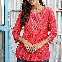 Cotton tunic, 'Strawberry Garden' - Floral Cotton Tunic in Strawberry from India