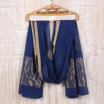 Cotton and silk blend shawl, 'Zari Elegance' - Zari-Embroidered Cotton and Silk Blend Shawl in Lapis