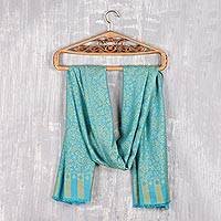 Modal jacquard shawl, 'Paisley Fanfare in Maize' - Jacquard Woven Turquoise and Maize Modal Shawl