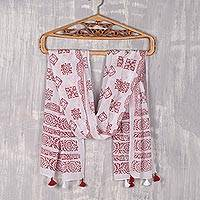 Block-printed cotton scarf, 'Burgundy Bliss' - Cotton Scarf with Burgundy Block Print Motifs from India