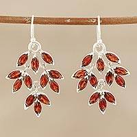 Garnet dangle earrings, 'Glittering Autumn' - Marquise Garnet Dangle Earrings Crafted in India