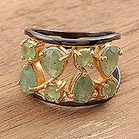 Gold accented aventurine band ring, 'Sparkling Flair' - Gold Accented Aventurine Band Ring from India