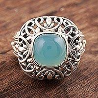 Chalcedony cocktail ring, 'Fascinating Princess' - Patterned Blue Chalcedony Cocktail Ring from India