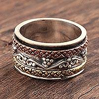 Sterling silver spinner ring, 'Classic Union' - Sterling Silver Spinner Ring with Brass and Copper