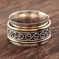 Sterling silver spinner ring, 'Happy Swirls' - Sterling Silver and Brass Spinner Ring from India