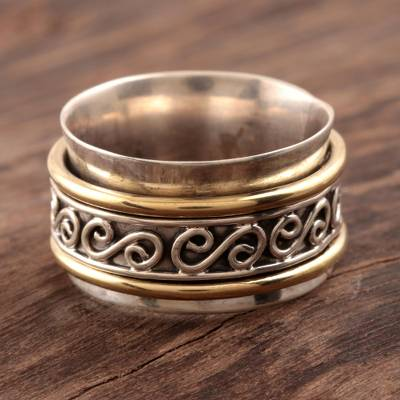 Sterling silver spinner ring, Happy Swirls