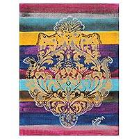 'Ornate Beauty' - Ornate Abstract Painting with Colorful Stripes from India