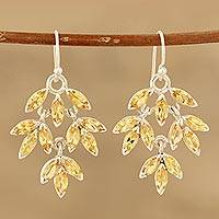 Citrine dangle earrings, 'Glittering Autumn' - Marquise Citrine Dangle Earrings Crafted in India