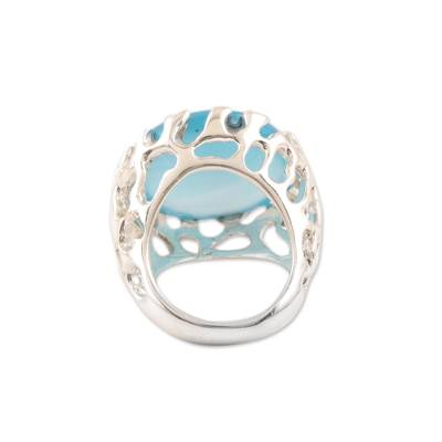 Chalcedony domed ring, 'Lustrous Coral' - Blue Chalcedony Domed Ring Crafted in India