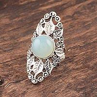 Chalcedony cocktail ring, 'Leafy Wreath' - Leaf Pattern Chalcedony Cocktail Ring from India