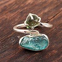 Apatite cocktail ring, 'Nugget Appeal' - Wrap-Style Apatite Cocktail Ring from India
