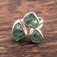 Apatite cocktail ring, 'Harmonious Wood' - Wrap-Style Apatite Nugget Cocktail Ring from India