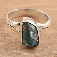 Apatite cocktail ring, 'Stylish Nugget' - Apatite Nugget Cocktail Ring Crafted in India