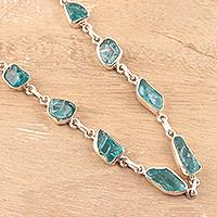 Apatite link necklace, 'Sea Nuggets' - Apatite Nugget Link Necklace Crafted in India