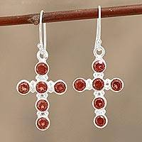 Garnet dangle earrings, 'Celebrated Cross' - Garnet and Sterling Silver Cross Dangle Earrings