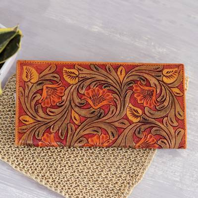 Leather wallet, 'Mughal Glory' - Patterned Floral Motif Leather Wallet from India