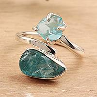 Apatite wrap ring, 'Appealing Nuggets' - Blue Apatite Wrap Ring Crafted in India