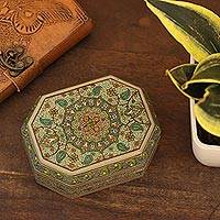 Decorative wood box, 'Persian Garden' - Velvet-Lined Decorative Wood Box from India