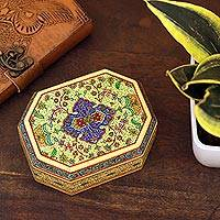 Decorative wood box, 'Persian Flower' - Hand Painted Floral Wood Box with Velvet Lining
