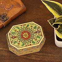 Decorative wood box, 'Persian Mandala' - Artisan Crafted Decorative Wood Trinket Box