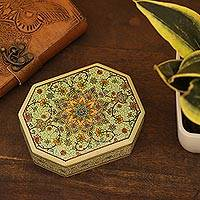 Decorative wood box, 'Persian Grandeur' - Handcrafted Wood and Papier Mache Box from India
