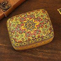 Decorative wood box, 'Persian Star' - Hand Painted Small Wood Decorative Box