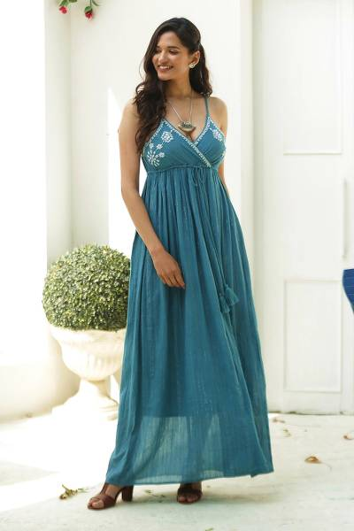 Embroidered cotton maxi dress, 'Seaside Flowers' - Embroidered Teal Cotton Sundress from India