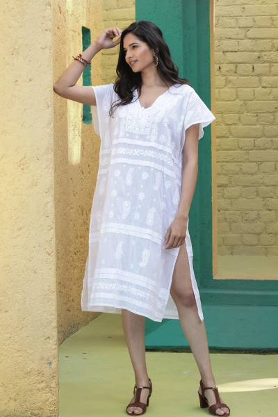 Embroidered cotton shift dress, 'Paisley Garden in White' - Lightweight Embroidered Cotton Shift in White