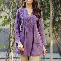 Embroidered cotton long tunic, 'Lilac Garden' - Hand Embroidered Lilac Cotton Tunic from India