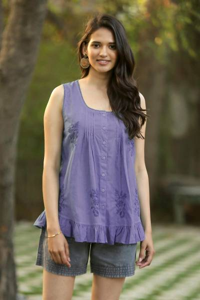 Embroidered cotton blouse, 'Violet Flowers' - Sleeveless Embroidered Cotton Blouse from India