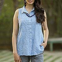 Sleeveless cotton embroidered top, 'Spring Festivity in Blue' - Sleeveless Blue Cotton Button Front Embroidered Blouse