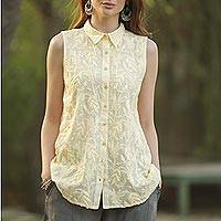 Sleeveless yellow cotton embroidered top, 'Spring Festivity' - Sleeveless Pale Yellow Cotton Top with Floral Embroidery