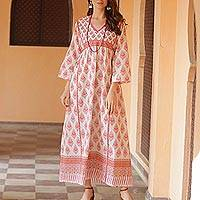 Cotton maxi dress, 'Floral Fantasy' - Pink Floral Print Cotton Maxi Dress